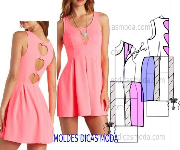 Faça a analise de forma detalhada do desenho do molde do vestido rosa. Vestido simples e arrojado que veste de forma muito elegante.
