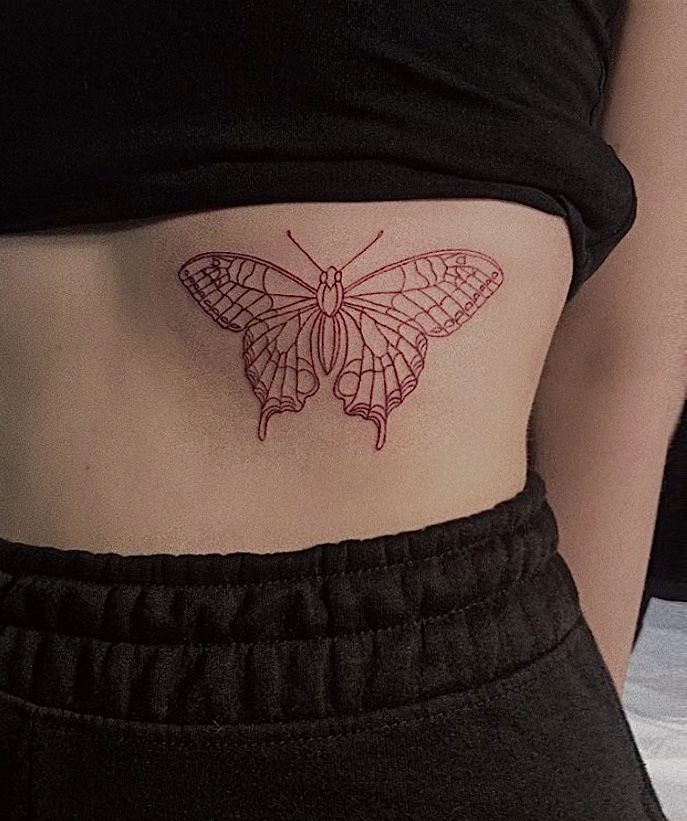 Red Ink Tattoo In 2020 Red Ink Tattoos Butterfly Tattoos On Arm Ink Tattoo
