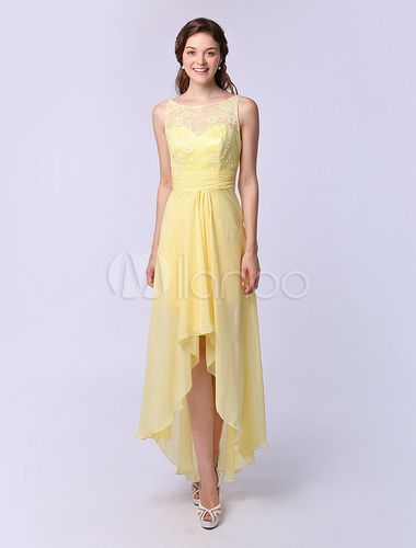 A-line Jewel Neck Asymmetrical Bridesmaid Dress Ruffle - Get unbeatable discounts up to 70% Off at Milanoo using Coupon & Promo Codes