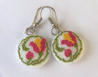cross stitch jewelry on Etsy, a global handmade and vintage marketplace.