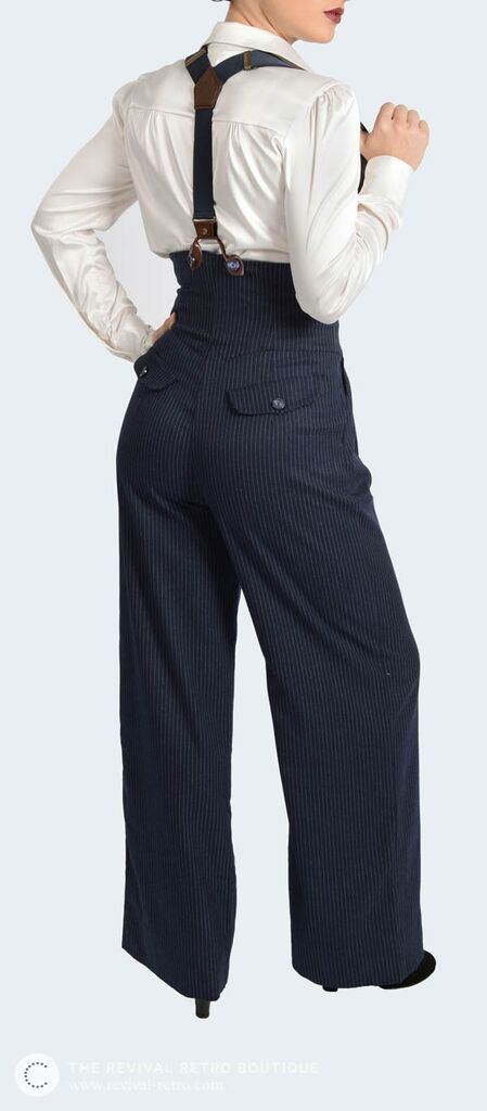 1940s pinstripe trousers for women. Stylish, wide leg, high waist, trousers in a vintage style.