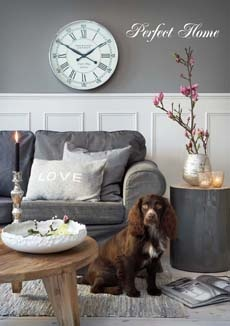 Perfect Home: living room, old silver details, grey sofa