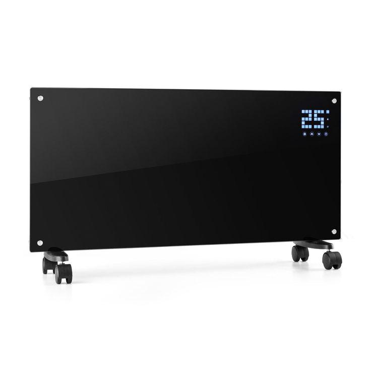 Klarstein Bornholm - Radiateur électrique convecteur chauffage d'appoint forme panneau design (2000 W, Menu LED, 2 niveaux thermostat réglable, roulettes) - noir: Amazon.fr: Cuisine & Maison