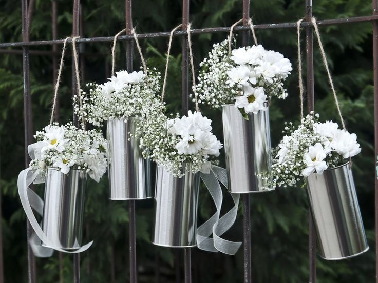 Decoratie blikjes zilver Trouwartikelen