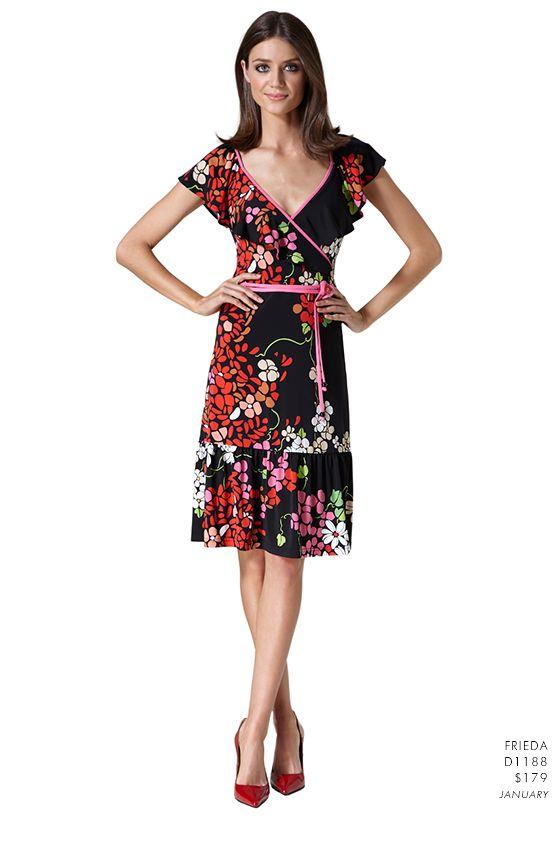 Leona Edmiston Freida Floral Print Wrap Dress Elegant, pretty, spring-like, and so ladylike.