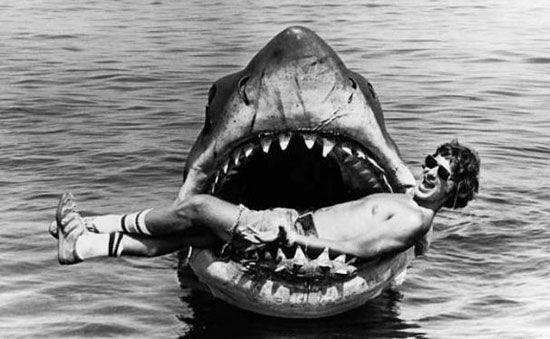 spielberg on the set of Jaws: Film, Photos, Bruce, Steven Spielberg, Sets, Jaw 1975, Favorite Movie, Steve Spielberg, Sharks