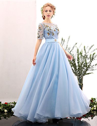 Formal Evening Dress - Sky Blue A-line Jewel Floor-length Spandex 4569040 2016 – $149.99