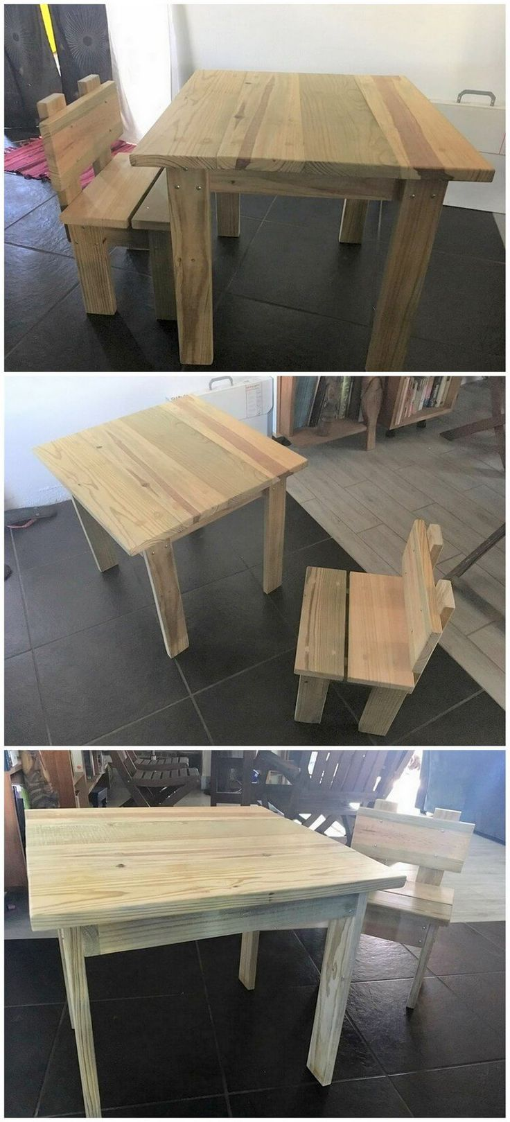 To provide a comfortable settlement to your kids in house for study, creating a simple wood pallet study table and chair will stand out to be a perfect choice. You can build up a low heighted table set so that it can easily match up with the level of the kid's height. Take the best idea from this amazing wood pallet created table and chair set.