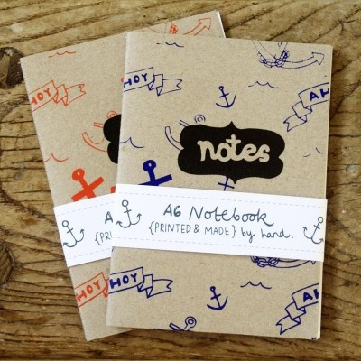 Anchor Notebook - Handprinted Slim Pocket-Sized Notebook - Ahoy! £3.35