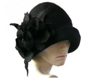 Sombrero de fieltro marrón fieltro sombrero Cloche por Feltpoint
