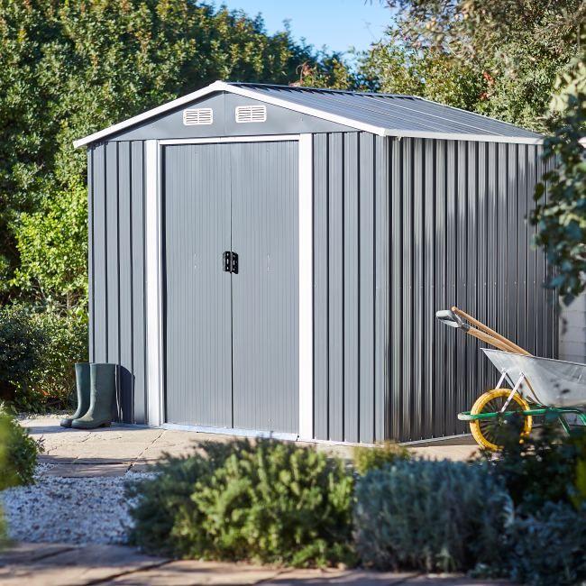Domek Narzedziowy Blooma Metalowy 236 X 195 X 210 Cm Domki Ogrodowe Metal Shed Apex Roof Corrugated Metal Roof