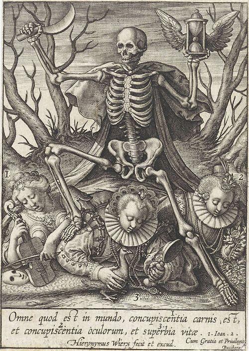 Death lords over concupiscence and pride (Vanitas) - Hieronymus Wierix (1548-1624) 1619