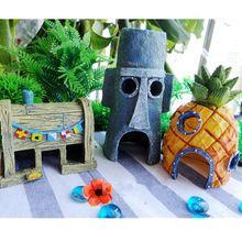 Venda quente Mini resina abacaxi dos desenhos animados casa paisagismo tanque de peixes de aquário decoração de casa decoração de Escape(China (Mainland))