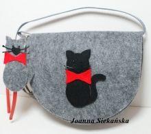 torebeczka  z filcu z kotkiem plus opaska