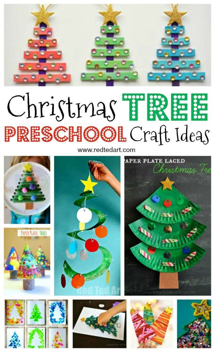 Easy Christmas Tree Crafts For Kids Red Ted Art Make Crafting With Kids Easy Fun Christmas Tree Crafts Christmas Crafts Tree Crafts