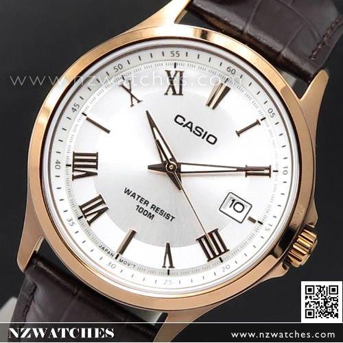 Casio Rose Gold Leather Strap Quartz Mens Watch MTP-1383RL-7AV, MTP1383RL