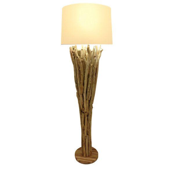 $300 Skove Beige/Brown Wood Uplight Floor Lamp