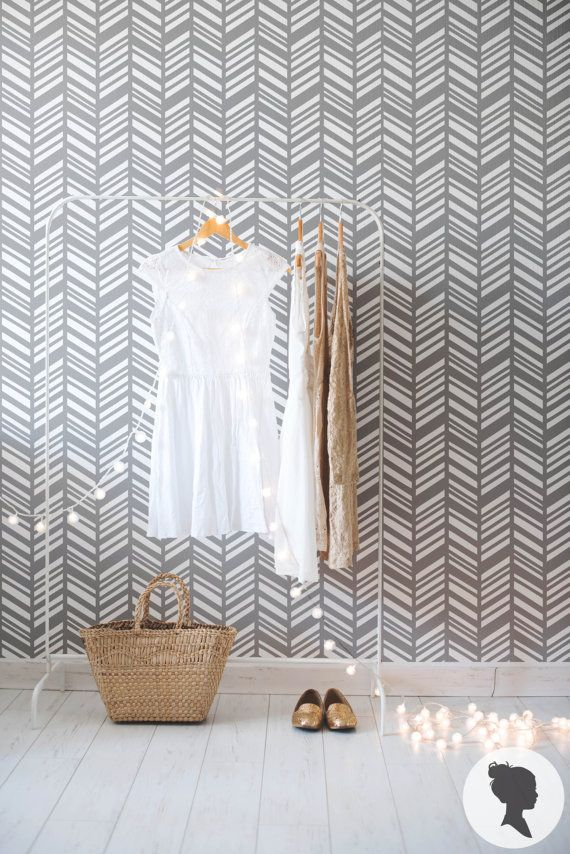 Self Adhesive Herringbone Pattern Removable Wallpaper por Livettes