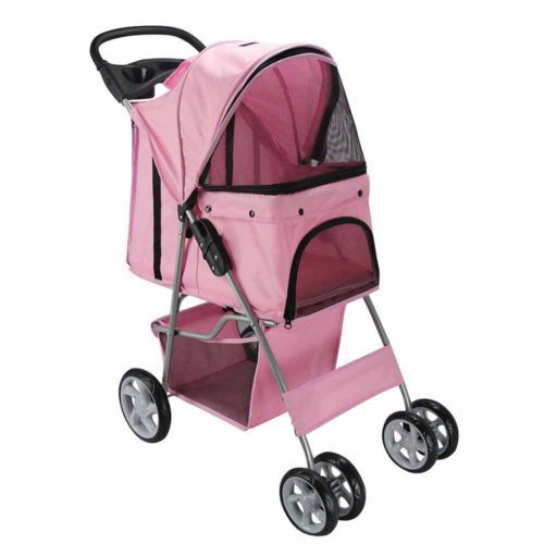 4 Wheel Walk Dog Cat Stroller Travel With Folding Carrier