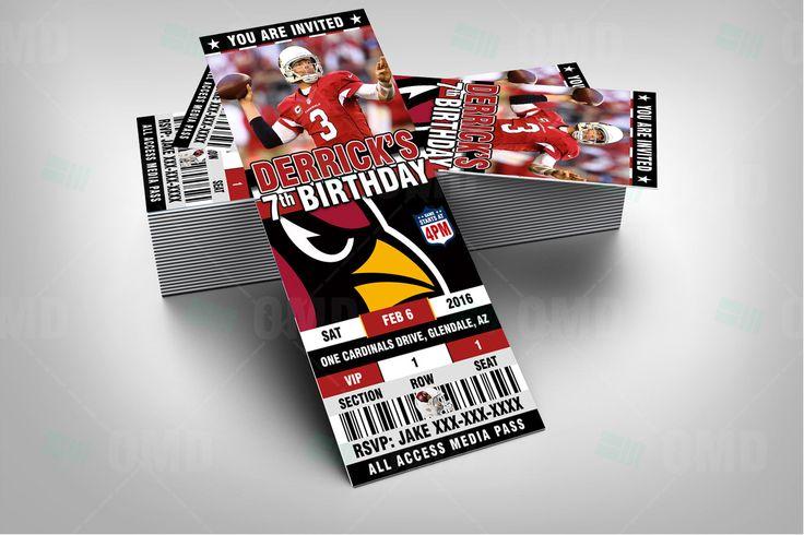 """Arizona Cardinals Sports Party Invitation, 2.5x6"""" Sports Tickets Invites, Football Birthday Theme Party Template by sportsinvites"""