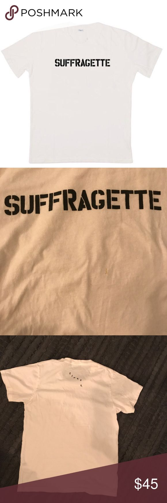 """Clare Vivier XS """"Suffragette"""" tee Clare Vivier XS white """"Suffragette"""" tee, limited edition. There is a small vertical yellow line about 1 cm on the front of the tee (see photo) - Clare V gave me a discount when I originally purchased this because for some reason all of the XS tees in their warehouse had this mark. I have the email correspondence as I purchased this online Clare Vivier Tops Tees - Short Sleeve"""
