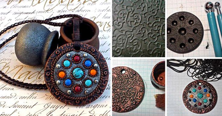 В этом уроке вы увидите процесс создания эффектного кулона из полимерной глины с имитацией металла, узнаете хитрости и приемы работы с пластикой. Для работы нам понадобится: - полимерная глина черного цвета и совсем немного разных цветов;- жидкая пластика;- экструдер;- нож;- каттеры;- акриловая краска металлик двух цветов;- текстура;- дотсы;- лак для полимерной глины;- фурнитура для сборки. …