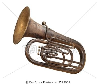 Stock Photo - Antique Tuba isolated with a  - stock image, images, royalty free photo, stock photos, stock photograph, stock photographs, picture, pictures, graphic, graphics