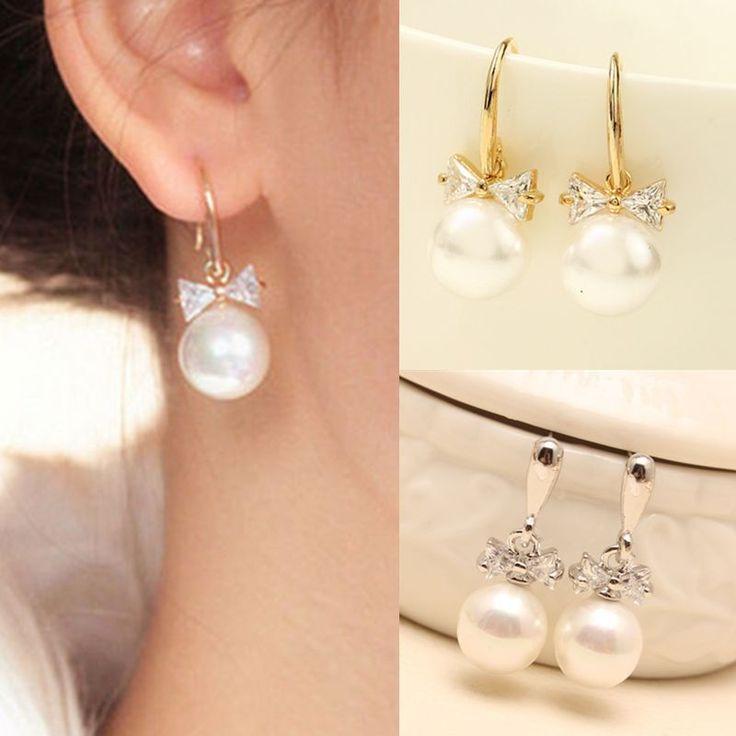 Korean Women Elegant Pearl Crystal Rhinestone Bow Hook Dangle Earrings Jewelry #UnbrandedGenenic #DropDangle