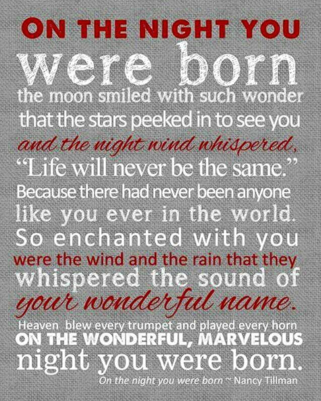 Love this. Both my boys were born at night. ❤️❤️
