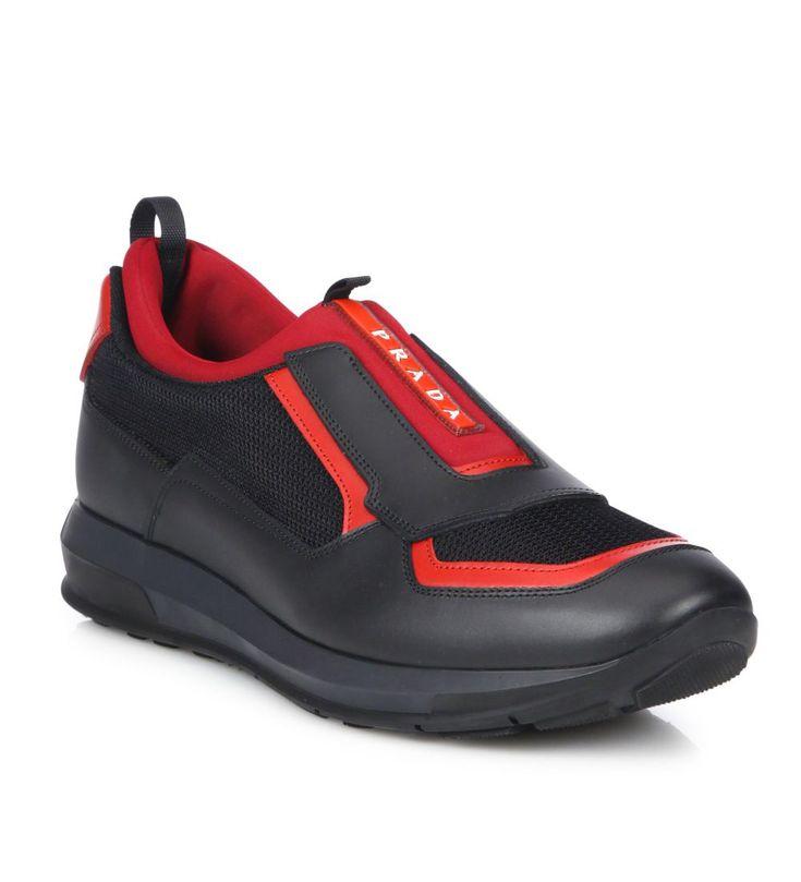 Prada Punta Ala Low Top Leather Sneakers Black                 $119.00