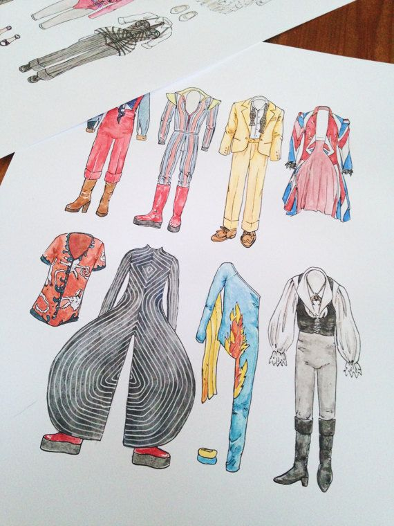A4 DAVID BOWIE Art Print in Colour / Black and by flatlaydesign ziggy stardust costumes iconic looks hair suit leotard platform boots clothing clothes union jack coat alexander mcqueen labyrinth