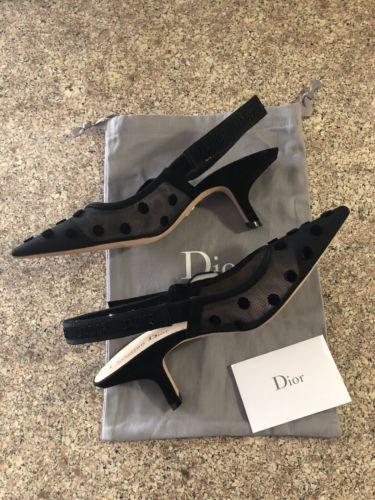 6c111bb3dbf Christian Dior J Adior Black Polka Dot Slingback Low Kitten Heel Size 38