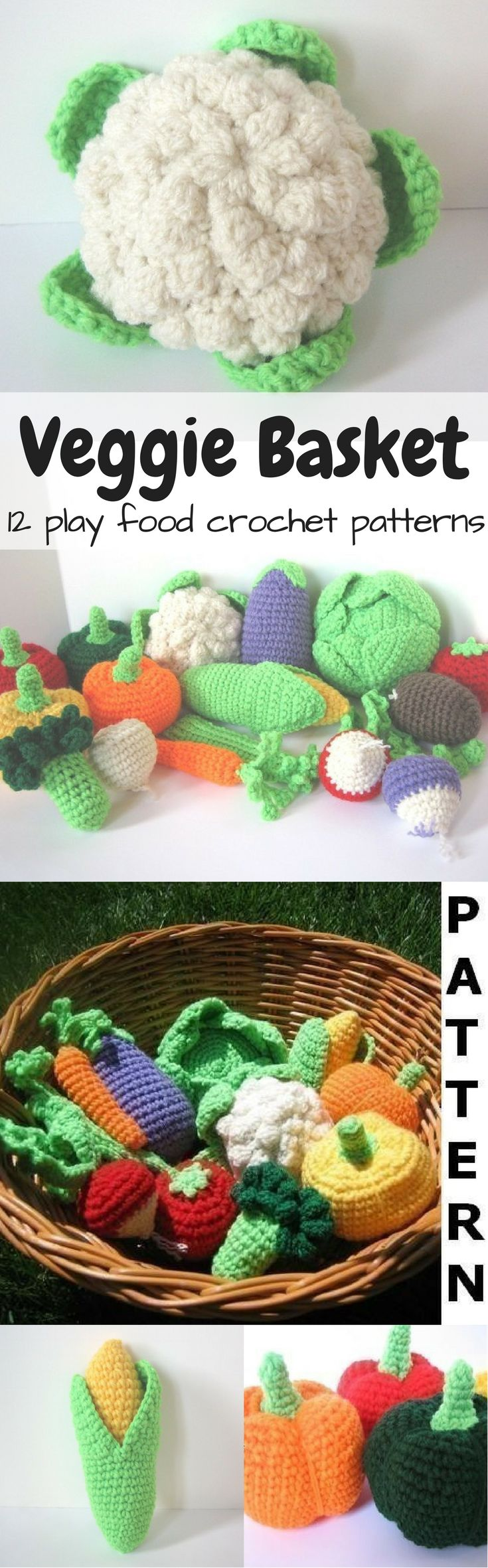 12 amazing vegetable crochet play food patterns to make this lovely basket full of veggies! What a fun idea for a child with a toy kitchen! I love the cauliflower! So great! Makes me wish my kids were little again! #etsy #ad #pdfpattern #crochetpattern #pdfdownload #instantdownload