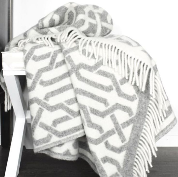 St Tropez Wool Blanket in gray and soft white by Elce Living. Available this coming Autumn at elceliving.cm & selected retailers