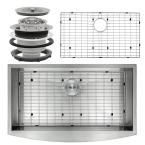 Handcrafted All-in-One Farmhouse Apron Front Stainless Steel (Silver) 33 in. Single Basin Kitchen Sink