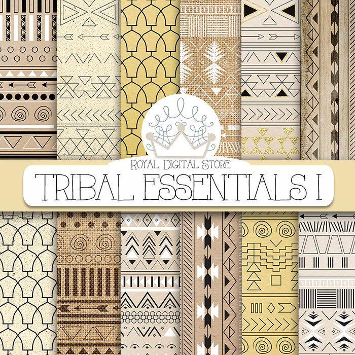 "Tribal digital paper: ""TRIBAL ESSENTIALS I"" with tribal, aztec pattern, background on neutral colors, earth shades, brown, beige, ochre #summerdigitalkit #tribal #yellow #planner #digitalpaper #scrapbookpaper #black"