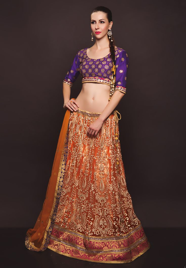 #Orange Net #LehengaCholi with Dupatta
