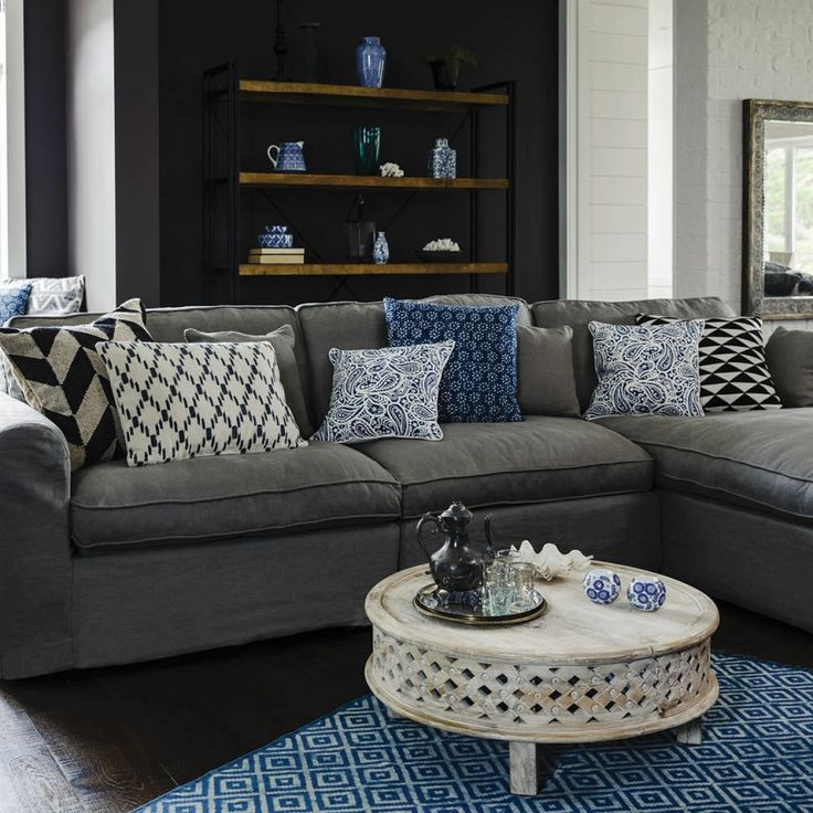 Rochelle 3 Seater Chaise Right-Hand Facing 5 Scatter Cushions - Charcoal Linen