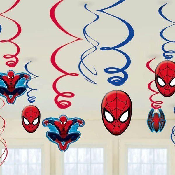 Spiderman Swirl Decoration - Pack of 12 - Spiderman Party - Childrens Party Supplies A-Z