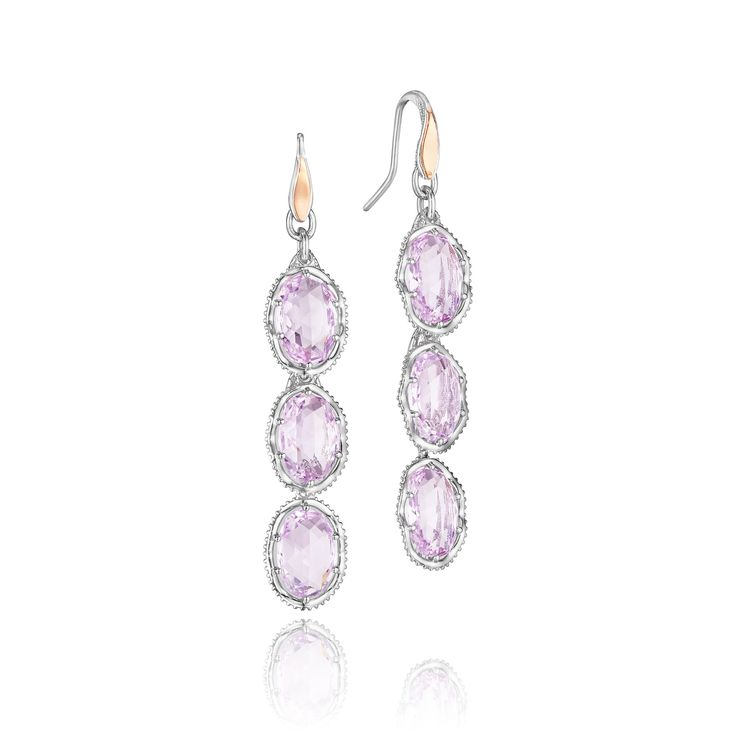 Tacori+style+no.+SE119P131313. Pretty+please+with+some...+gemstones+on+top?++Rays+of+light+shine+through+these+almost+translucent,+triple+layered+rose+amethyst+earrings+creating+a+sugar+sweet+glow+that+will+have+you+asking+pretty+please+for+more.