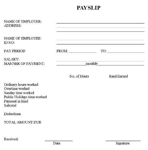 Image result for domestic worker payslip template download