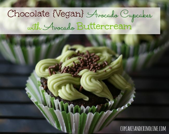 Chocolate Avocado Cupcakes with Avocado Buttercream Frosting | Cupcakes and Crinoline #cupcakes #avocado #vegan