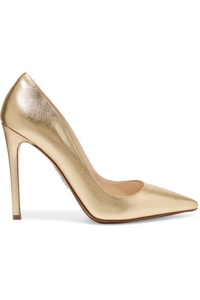 ALL THAT GLITTERS: Prada's gold pumps have been beautifully hand-finished in Italy from textured-leather – we love how the sole is also metallic. Crafted in a classic pointed shape, this polished pair will elevate every outfit and never date.