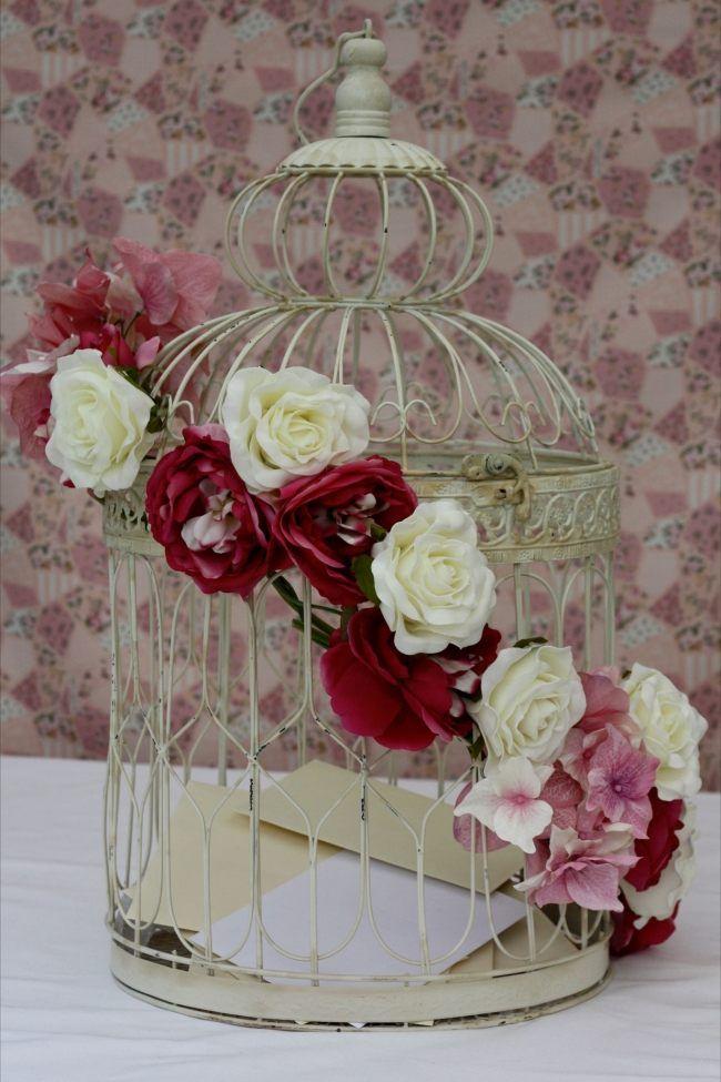 shabby chic romantische deko vogelkäfig rosen girlande