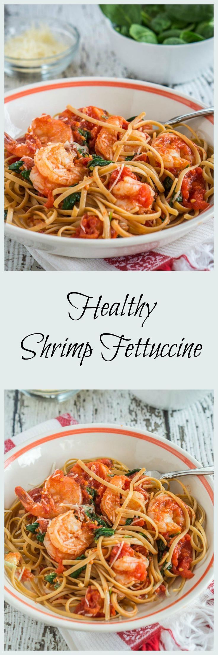 Healthy Shrimp Fettuccine can be on your table in 10 minutes. This recipe proves that you can put a dish on your table that is quick, healthy and delicious. | http://HostessAtHeart.com