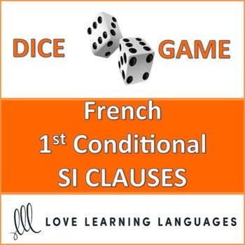 This is an easy to play 30 minute dice game to practice French 1st conditional SI CLAUSES using the FUTUR SIMPLE. This game provides SI CLAUSE PROMPTS that must be completed using the future tense. My high school students love this game, and it can get very competitive if you decide to play it as a race (details are explained with the activity). Students divide up into teams and play a dice game, the dice determining which SI CLAUSE PROMPT to use with an infinitive to be used...