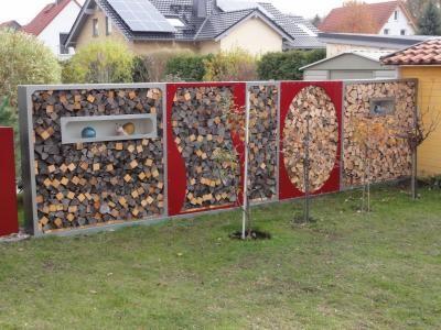 dřevník přístřešek na dřevo - moderní zahrada - zahradní design FF34443