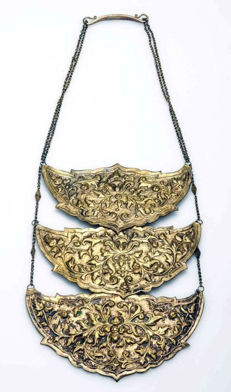Indonesia ~ Java | Bridal necklace ~ Kalung taggallan (new moon) ~ brass plated | ca. 1970 or earlier