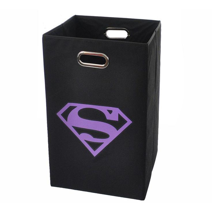 Superman Logo Collapsible Laundry Basket, Purple