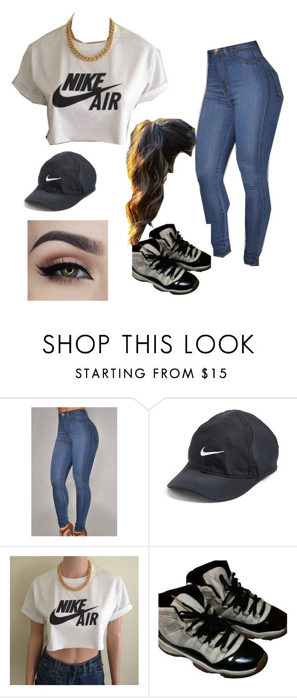 """""""how to wear jordans"""" by qveen6 on Polyvore featuring NIKE, women's clothing, women, female, woman, misses and juniors"""